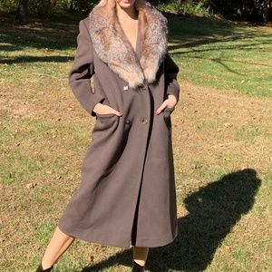 Vintage Alorna Wool Fox Fur Long Evening Coat